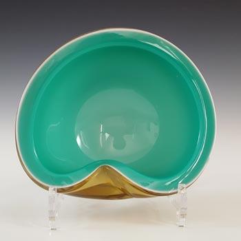Barbini Murano Green, White & Amber Glass Biomorphic Bowl