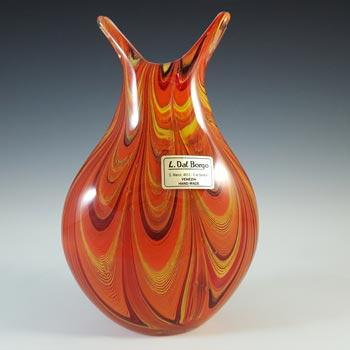 SIGNED L. Dal Borgo Murano Venetian Orange Glass Vase