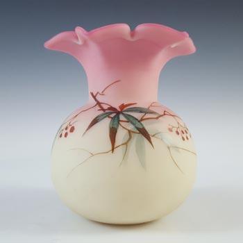 Thomas Webb Victorian Burmese Uranium 'Berry & Leaf' Glass Vase