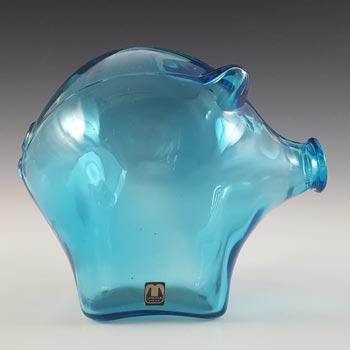 LABELLED Cascade / Wood Bros Blue Glass Piggy Bank / Money Box