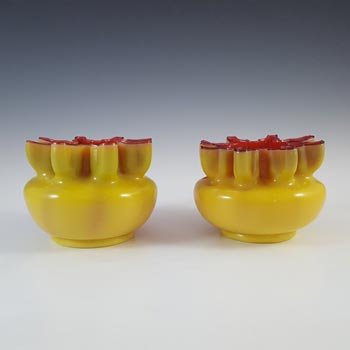 Welz Bohemian 1890's Pair of Yellow & Pink Cased Glass Vases