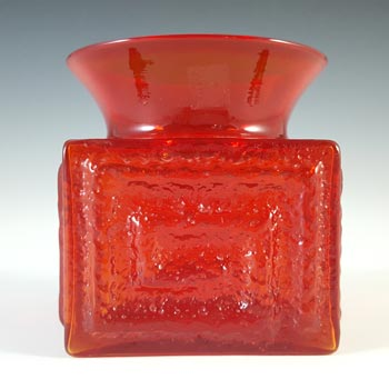 Dartington #FT72 Frank Thrower Flame Red Glass Greek Key Vase