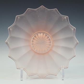 Ankerglas Bernsdorf 1930's Art Deco Pink Glass Bowl / Dish