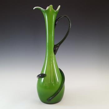 Cristalleria Fratelli Betti Italian Empoli Green Glass Vase