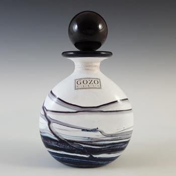 SIGNED Gozo Maltese Black & White Glass 'Noir' Perfume Bottle