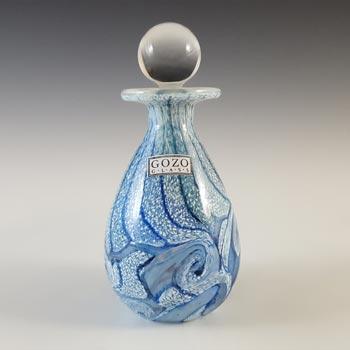 SIGNED Gozo Maltese Blue & White Glass 'Sea' Perfume Bottle