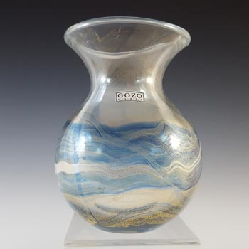 SIGNED + LABELLED Gozo Blue Glass & Gold Leaf Vintage Vase