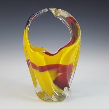 Iwatsu Japanese Multicoloured Cased Glass Retro Basket Vase