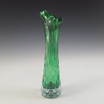 Japanese Vintage Textured Green Cased Glass Stem Vase