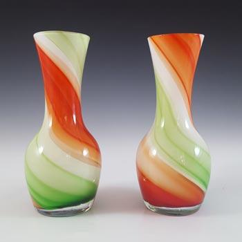 Japanese Pair of Red, Green & White Vintage Glass Vases