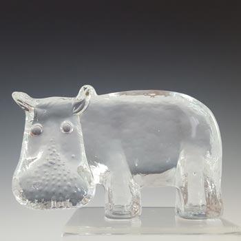 Kosta Boda Glass Hippo Sculpture - Zoo Series by Bertil Vallien