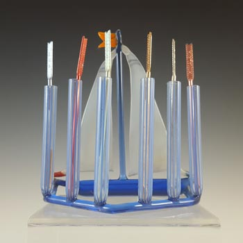 Bimini or Lauscha Blue & White Lampworked Glass Ship Toothpick Holder