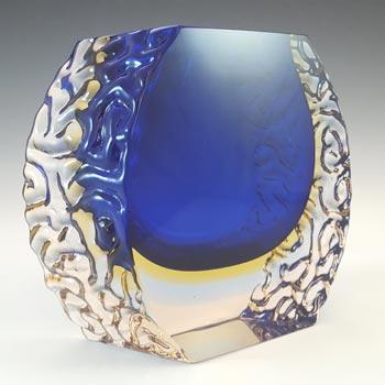 Mandruzzato Murano Faceted Blue & Amber Sommerso Glass Vase