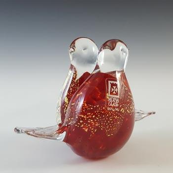 SIGNED Mdina Maltese Red & Gold Leaf Glass Lovebirds Sculpture