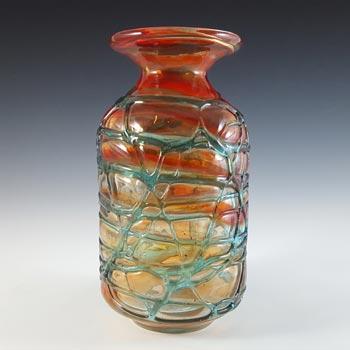 Mdina Maltese Red & Blue Glass Threaded Vintage Vase