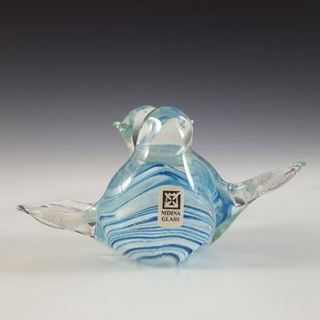 SIGNED Mdina Maltese Blue & White Glass Lovebirds Sculpture