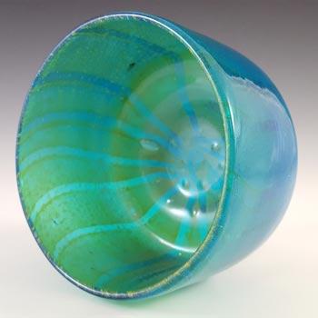SIGNED Mdina Maltese Blue & Yellow Glass 'Ming' Vase / Bowl