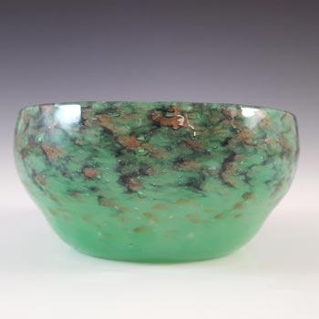 LABELLED Monart Green & Black 1920s Aventurine Glass Bowl