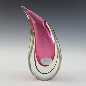 LABELLED Oball Murano Pink & Black Sommerso Glass Teardrop Vase