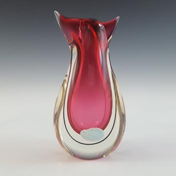 LABELLED Oball Murano Pink & Black Sommerso Glass Organic Vase
