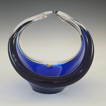 LABELLED Ryd Glasbruk Swedish / Scandinavian Blue Glass Bowl