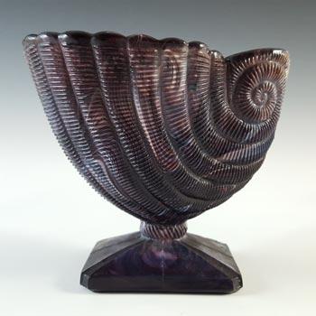 Victorian 1890's Malachite / Slag Glass Nautilus Shell Vase