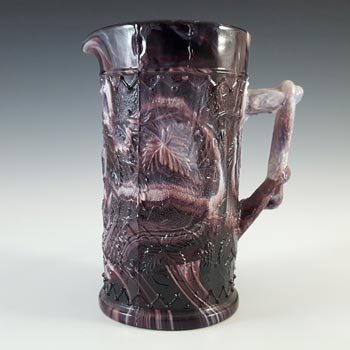 Victorian 1890's Antique Malachite / Slag Glass Jug