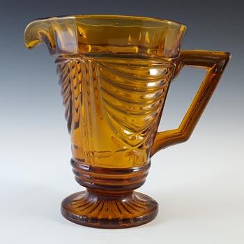 Sowerby #2550 Art Deco Vintage Amber Glass Water Jug