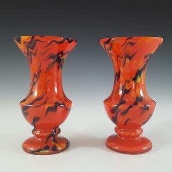 Czech Pair of Red, Orange & Black Art Deco Spatter Glass Vases