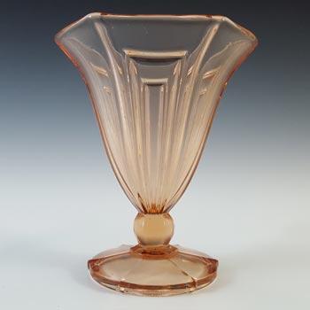 Czech? Vintage Art Deco 1930's Pink Glass Vase