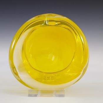 Japanese Yellow & White Striped Retro Glass Bowl / Ashtray