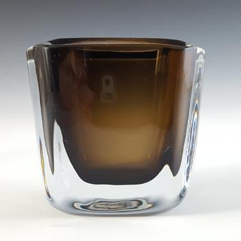 SIGNED Stromberg Swedish Amber Cased Glass Vase #H93