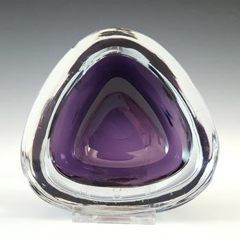 SIGNED Strömberg Swedish Purple Cased Glass Bowl #H89