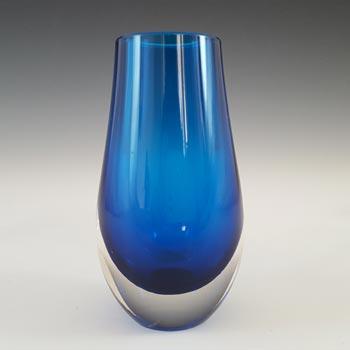 Whitefriars #9497 Geoffrey Baxter Blue Glass Lobed Vase