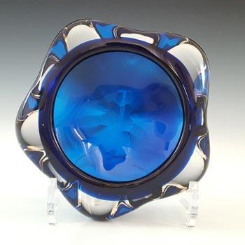 Whitefriars #9625 Blue Glass Vintage Lobed Bowl / Ashtray
