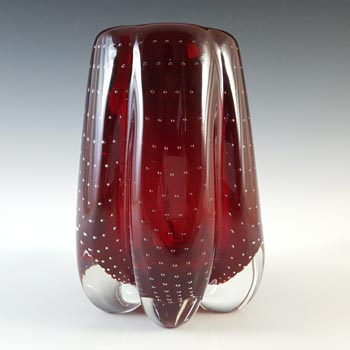 Whitefriars #9775 Ruby Red Glass Controlled Bubble Lobed Vase