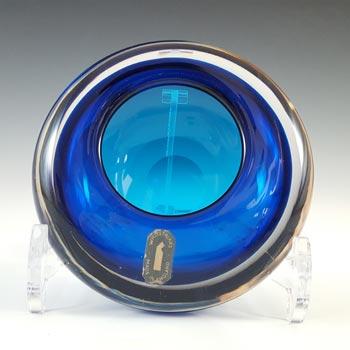 Whitefriars #9645 Blue Glass Vintage Bowl / Ashtray - Labelled