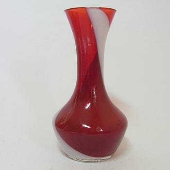 Japanese Red & White Art Glass Bud Vase