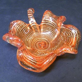 Barovier & Toso 'Zebrati' Murano Gold Leaf Glass Bowl