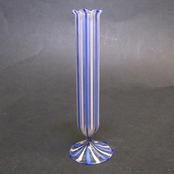 Bimini or Lauscha Blue & White Striped Lampworked Glass Vase