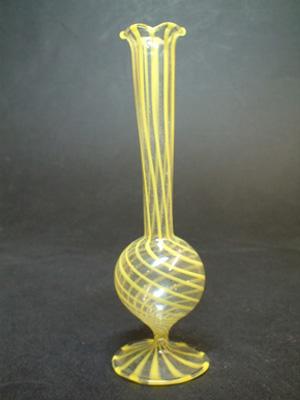 Bimini or Lauscha Yellow Striped Lampworked Glass Vase