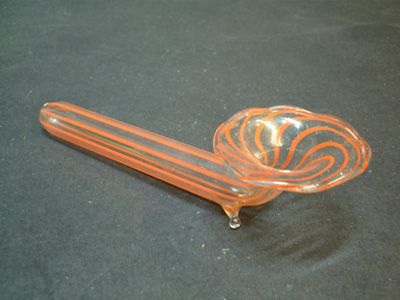 Bimini or Lauscha Red Striped Lampworked Glass 'Pipe' Vase