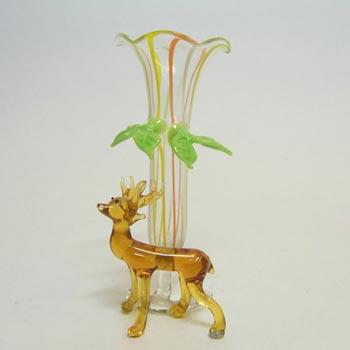 Bimini or Lauscha Multicoloured Lampworked Glass Deer Vase