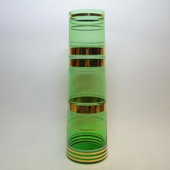 Borske Sklo 1950's Green Glass Cyclindrical Vase