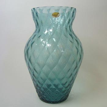 Borske Sklo Turquoise Bohemian Glass Optical 'Caro' Vase