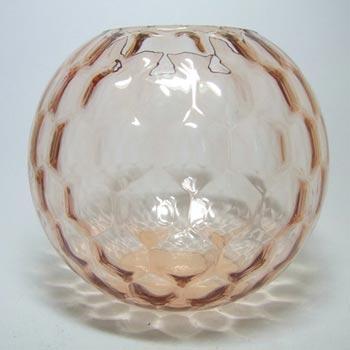 Borske Sklo 1950's Pink Glass Optical 'Honeycomb' Vase