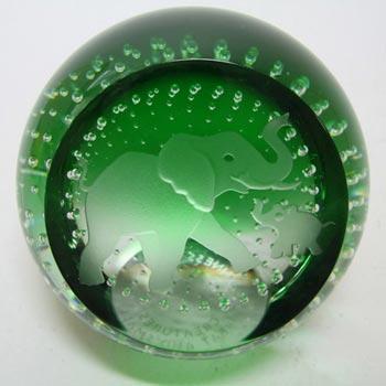 Caithness Green Glass 'Creatures' Elephants Paperweight