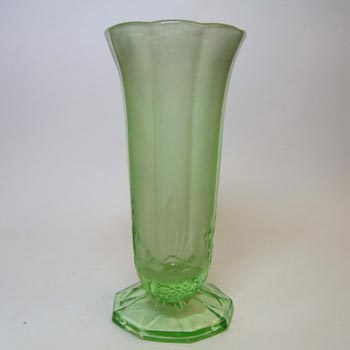 Jobling #11400 or Sowerby Green Art Deco Glass Bird + Panel Vase