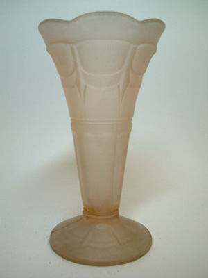 Sowerby Art Deco 1930's Frosted Pink Glass Vase