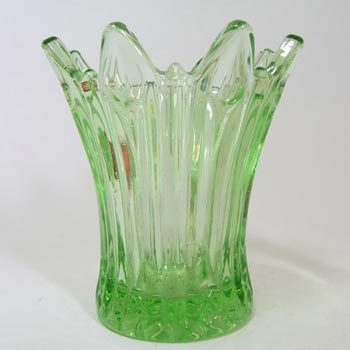 Sowerby Art Deco 1930's Green Pressed Glass Posy Vase